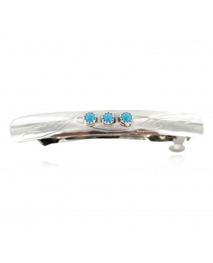 Silver Certified Authentic Navajo Handmade Natural Turquoise Native American Hair Barrette 10346-2