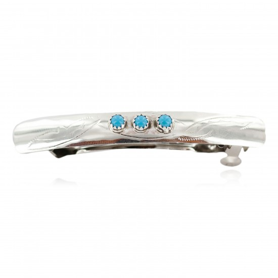 Silver Certified Authentic Navajo Handmade Natural Turquoise Native American Hair Barrette 10346-2 All Products NB160301003028 10346-2 (by LomaSiiva)
