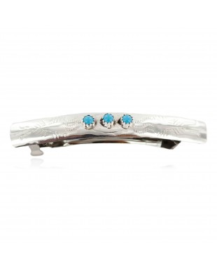 Silver Certified Authentic Navajo Handmade Natural Turquoise Native American Hair Barrette 10346-4