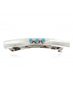 Silver Handmade Certified Authentic Navajo Natural Turquoise Native American Hair Barrette 10346-6