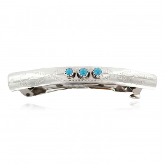 Silver Handmade Certified Authentic Navajo Natural Turquoise Native American Hair Barrette 10346-6 All Products NB160301000505 10346-6 (by LomaSiiva)