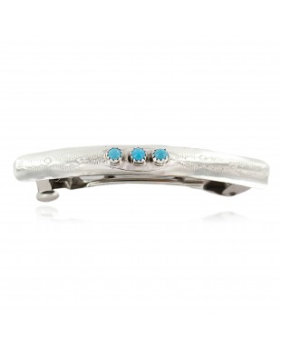 Silver Navajo Certified Authentic Handmade Natural Turquoise Native American Hair Barrette 10346-1