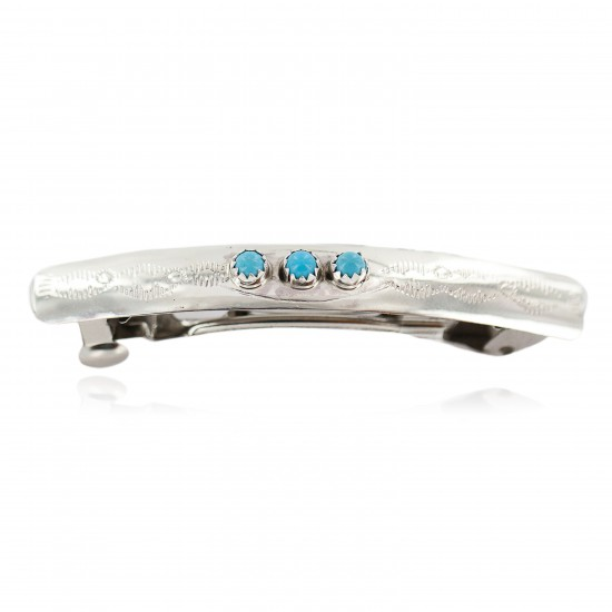Silver Navajo Certified Authentic Handmade Natural Turquoise Native American Hair Barrette 10346-1 All Products NB160301003528 10346-1 (by LomaSiiva)
