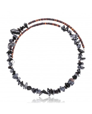 Snowflake Obsidian Certified Authentic Navajo Native American Adjustable Choker Wrap Necklace 25567