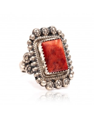 Spiny Oyster .925 Sterling Silver Certified Authentic Navajo Native American Handmade Ring 13103-1