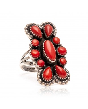 Spiny Oyster .925 Sterling Silver Certified Authentic Navajo Native American Handmade Ring 13206