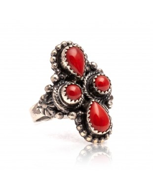 Spiny Oyster .925 Sterling Silver Certified Authentic Navajo Native American Handmade Ring 13209-1