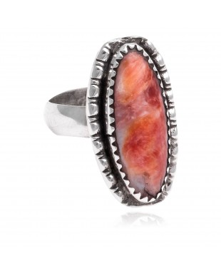Spiny Oyster .925 Sterling Silver Certified Authentic Navajo Native American Handmade Ring  24427-1