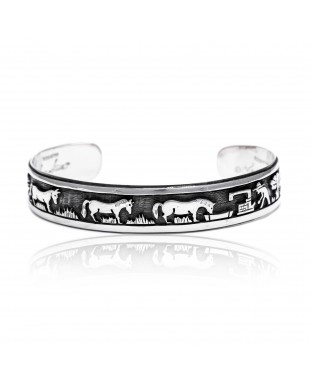 Storyteller .925 Sterling Silver Certified Authentic Navajo Handmade Native American Cuff Bracelet 1255