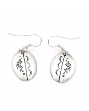Sun .925 Starling Silver Certified Authentic Handmade Navajo Native American Earrings  27260-4