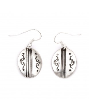 Sun .925 Starling Silver Certified Authentic Handmade Navajo Native American Earrings  27260-5