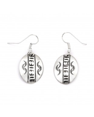 Sun .925 Starling Silver Certified Authentic Handmade Navajo Native American Earrings  27260-6