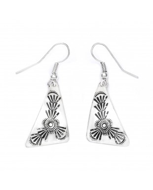 Sun .925 Starling Silver Certified Authentic Handmade Navajo Native American Earrings  27261-9