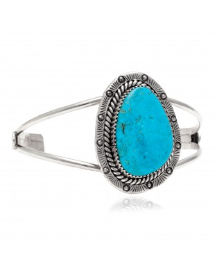 Sun .925 Sterling Silver Certified Authentic Handmade Navajo Native American Natural Turquoise Cuff Bracelet 12996