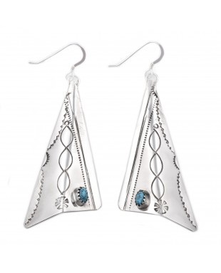 Sun .925 Sterling Silver Certified Authentic Handmade Navajo Native American Natural Turquoise Large Dangle Earrings 27256