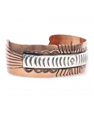 Sun Cross .925 Sterling Silver Copper Certified Authentic Handmade Navajo Native American Bracelet 245546
