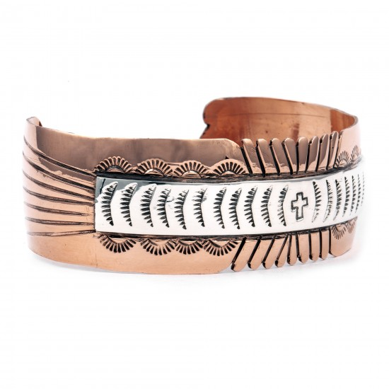 Sun Cross .925 Sterling Silver Copper Certified Authentic Handmade Navajo Native American Bracelet 245546 All Products NB180518192928 245546 (by LomaSiiva)