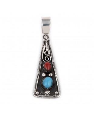 Sun Flower .925 Starling Silver Certified Authentic Handmade Navajo Native American Natural Turquoise Coral Pendent  18330