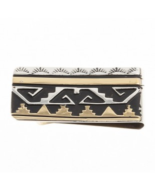 Sun Mountain 12kt Gold Filled .925 Sterling Silver Certified Authentic Handmade Navajo Native American Money Clip 24536-2