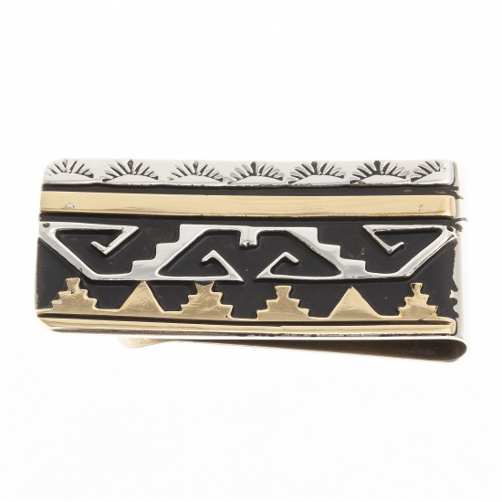 Sun Mountain 12kt Gold Filled .925 Sterling Silver Certified Authentic Handmade Navajo Native American Money Clip 24536-2 All Products NB180620173141 24536-2 (by LomaSiiva)