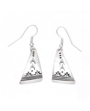 Sun Mountain .925 Starling Silver Certified Authentic Handmade Navajo Native American Earrings  27261-5