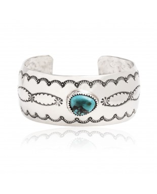 Sun Nickel Certified Authentic Handmade Navajo Native American Natural Turquoise Cuff Bracelet  12877