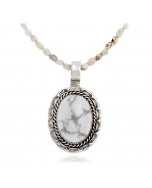 Sun Oval .925 Sterling Silver Certified Authentic Handmade Navajo Native American White Howlite Necklace 12922-2-25289