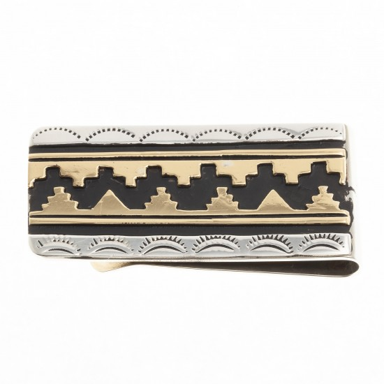 Sun Teepee 12kt Gold Filled .925 Sterling Silver Certified Authentic Handmade Navajo Native American Money Clip 24536-1 All Products NB180620173142 24536-1 (by LomaSiiva)