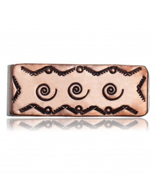 Swirl and Mountain Navajo Certified Authentic Handmade Pure Copper and Nickel Native American Money Clip 11267-5