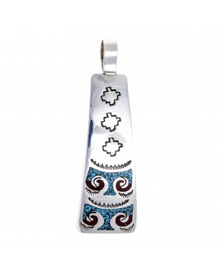 Thunderbird .925 Starling Silver Certified Authentic Handmade Navajo Native American Natural Turquoise Coral Pendent  24541-5