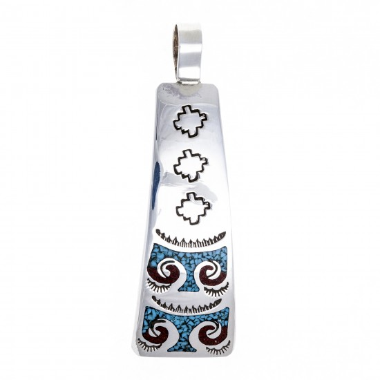 Thunderbird .925 Starling Silver Certified Authentic Handmade Navajo Native American Natural Turquoise Coral Pendent  24541-5 Pendants NB180602181533 24541-5 (by LomaSiiva)