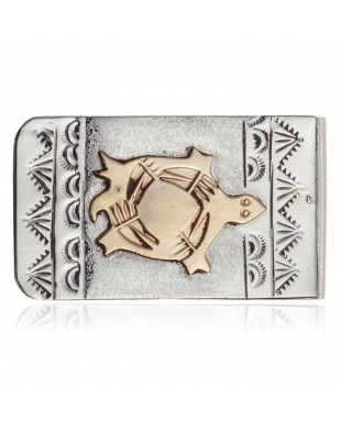 Turtle 12kt Gold Filled and .925 Sterling Silver Certified Authentic Handmade Navajo Native American Money Clip 11266-2