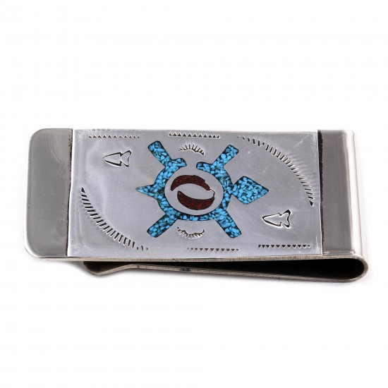 Turtle .925 Sterling Silver Ray Begay Certified Authentic Handmade Navajo Native American Natural Turquoise Coral Money Clip 11253-4 All Products NB180528225435 11253-4 (by LomaSiiva)