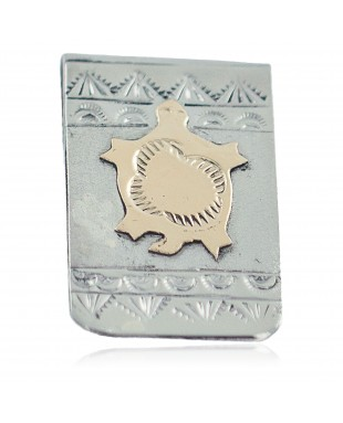 Turtle Certified Authentic 12kt Gold Filled and .925 Sterling Silver Handmade Navajo Native American Money Clip 11266-1