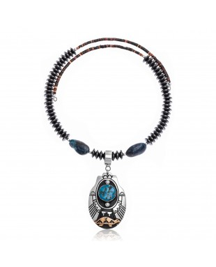 Turtle Natural Turquoise and Hematite .925 Sterling Silver Certified Authentic Navajo Native American Handmade Necklace and Pendant 24537-25560