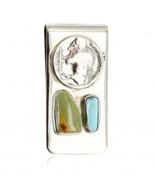 Vintage Style Buffalo Coin Handmade Certified Authentic Navajo .925 Sterling Silver Nickel Natural Turquoise 11242-1