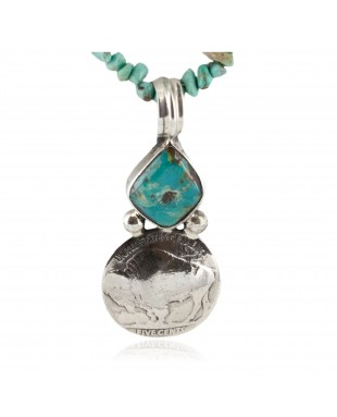 Vintage Style Buffalo Nickel .925 Sterling Silver Certified Authentic Navajo Natural Turquoise Native American Necklace 14263-3-750103