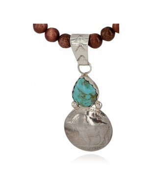 Vintage Style Buffalo Nickel .925 Sterling Silver Handmade Certified Authentic Navajo Natural Turquoise Goldstone Native American Necklace 24412-1-16076-9