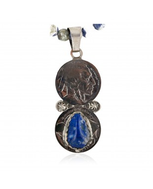 Vintage Style Buffalo Nickel .925 Sterling Silver Handmade Certified Authentic Navajo Natural Turquoise Lapis Native American Necklace 16024-15974-4