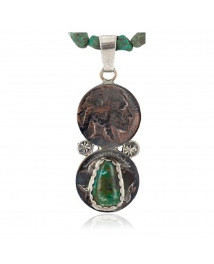 Vintage Style Buffalo Nickel .925 Sterling Silver Handmade Certified Authentic Navajo Turquoise Native American Necklace 16024-16029-2