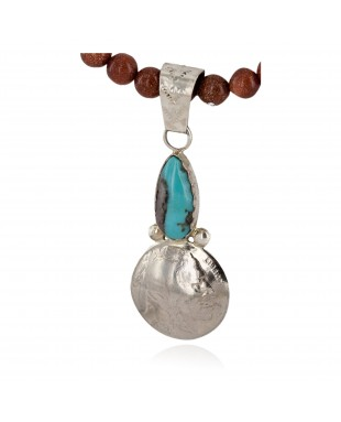 Vintage Style Buffalo Nickel and .925 Sterling Silver Handmade Certified Authentic Navajo Natural Turquoise Goldstone Native American Necklace 24412-2-16076-8