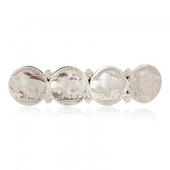 Vintage Style Buffalo Nickel Handmade Certified Authentic Navajo .925 Sterling Silver Nickel Native American Hair Barrettes 10337 All Products NB151120043253 10337 (by LomaSiiva)