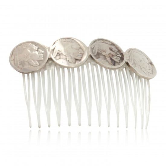 Vintage Style Buffalo Nickel Handmade Certified Authentic Navajo Nickel Hairclip 10325 All Products NB151120041947 10325 (by LomaSiiva)