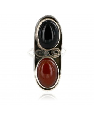 Vintage Style Handmade Certified Authentic Navajo .925 Sterling Silver Natural Black Onyx and Agate Native American Ring  16958-3
