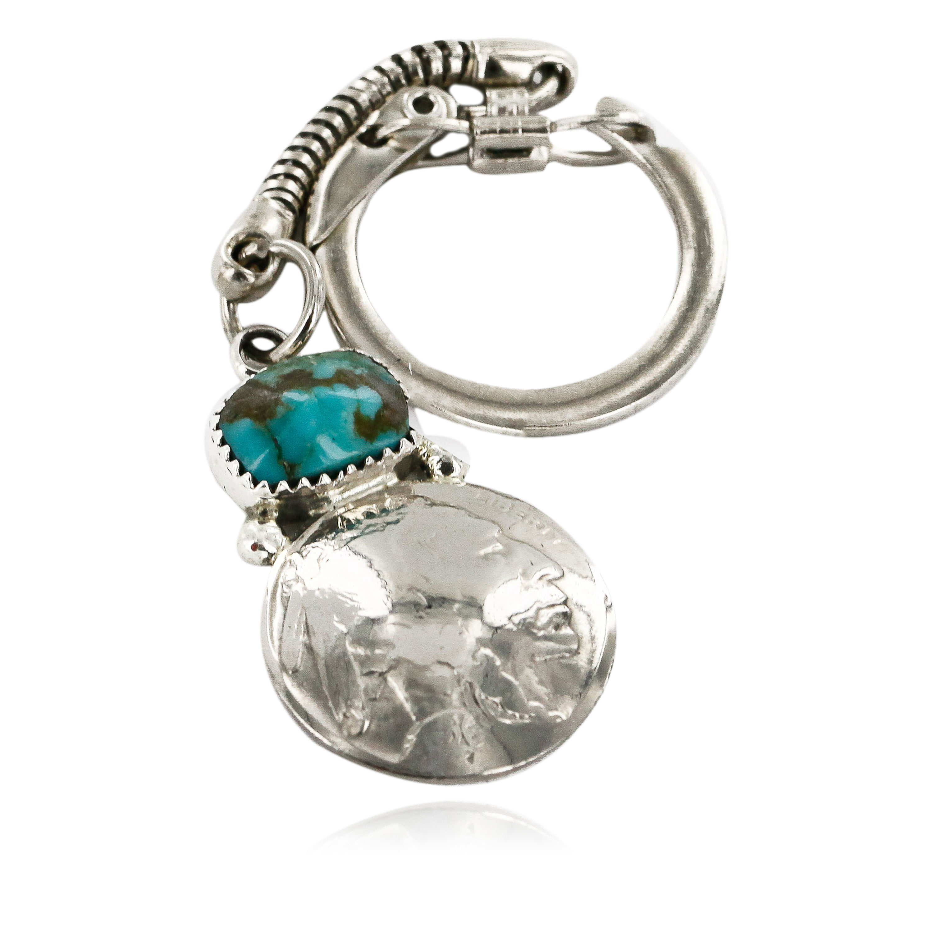 Vintage Style OLD Buffalo Coin Certified Authentic Navajo .925 Sterling Silver Natural Turquoise Native American Keychain 1 10336-1 All Products 10336-1 10336-1 (by LomaSiiva)