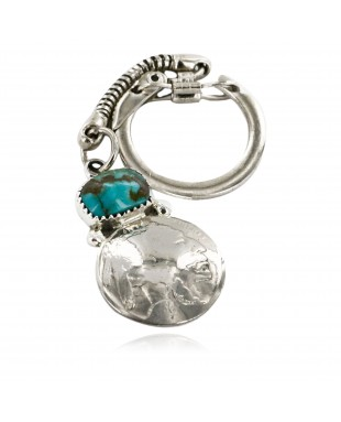 Vintage Style OLD Buffalo Coin Certified Authentic Navajo .925 Sterling Silver Natural Turquoise Native American Keychain 1 10336-1