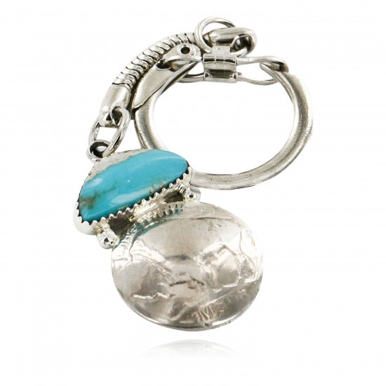 Vintage Style OLD Buffalo Coin Certified Authentic Navajo .925 Sterling Silver Natural Turquoise Native American Keychain 10336-2 All Products 10336-2 10336-2 (by LomaSiiva)