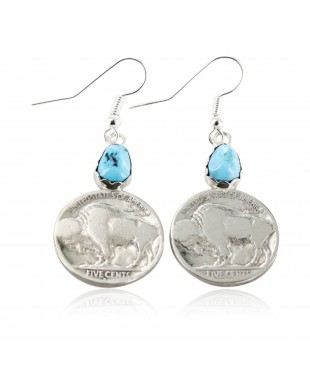 Vintage Style OLD Buffalo Coin Certified Authentic Navajo .925 Sterling Silver Turquoise Native American Earrings 18077-1