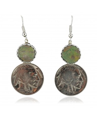 Vintage Style OLD Buffalo Coin Certified Authentic Navajo .925 Sterling Silver Turquoise Native American Earrings 370928521931