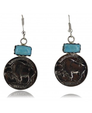 Vintage Style OLD Buffalo Coin Certified Authentic Navajo .925 Sterling Silver Turquoise Native American Earrings 370954980782